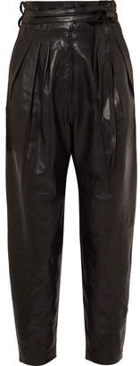 IRO Belted Leather Tapered Pants - Black