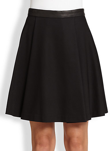 Alice + Olivia Leather-Trimmed Flared Skirt