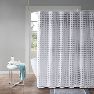 Circe Madison Park Essentials Faux Silk Laser Cut Circle Contrast Shower Curtain