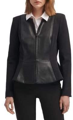DKNY Faux-Leather Panel Peplum Jacket