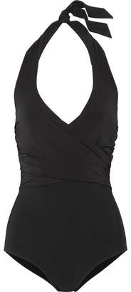 Heidi Klein D-g Ruched Halterneck Swimsuit - Black