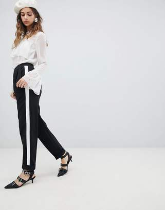 Miss Selfridge Side Stripe Turn Up Tapered Trousers