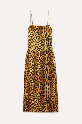 ADAM by Adam Lippes Leopard-print Hammered Silk-crepe Dress - Brown