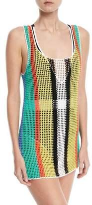 Diane von Furstenberg Crochet-Knit Coverup Tank Sweater