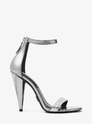 Michael Kors Ramsey Crackled Metallic Leather Sandal