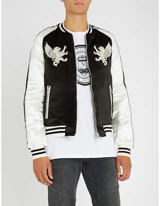 Balmain Metallic-embroidered satin bomber jacket