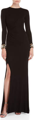 Shoshanna Black Wen Embellished Long Sleeve Gown