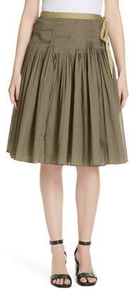 Tory Burch Pleat Cotton Wrap Skirt