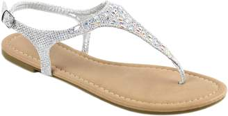 Bella Marie Women's T Strap Thong Gladiator Strappy Rhinestone Glitter Flip Flops Sandals (7.5, )