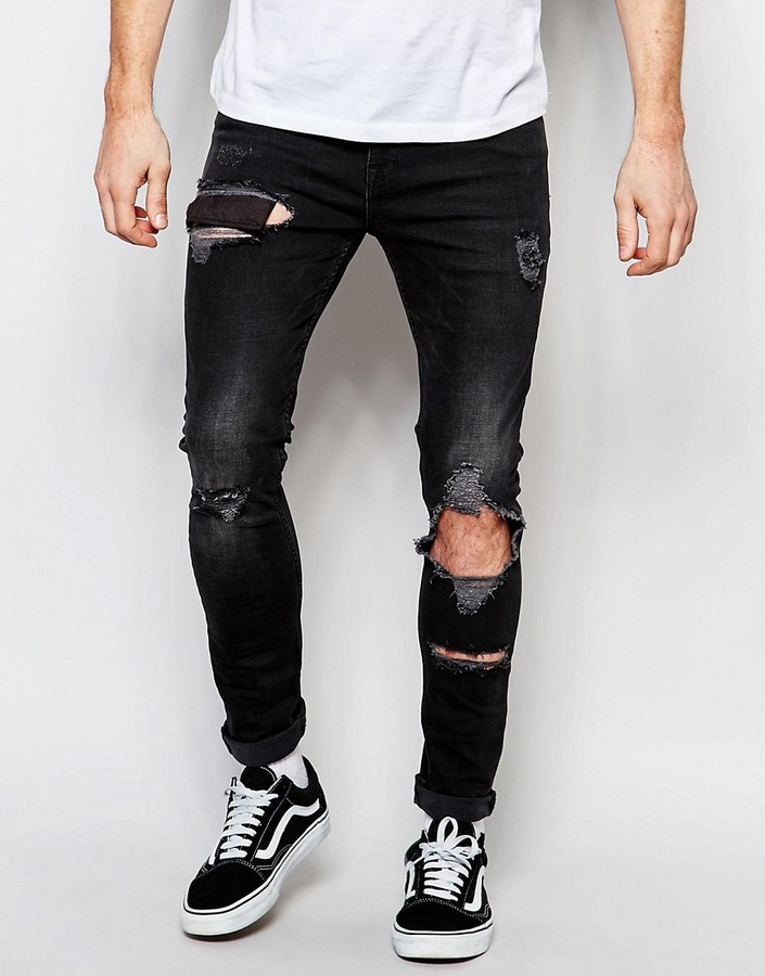 asos super skinny jeans with open rips shopstyle distressed. Black Bedroom Furniture Sets. Home Design Ideas