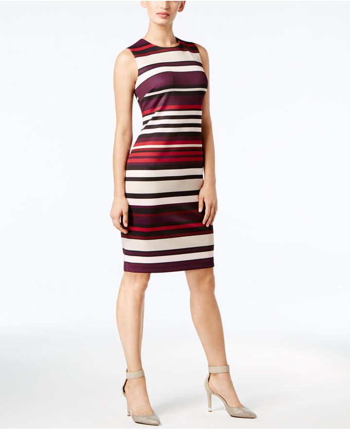 Calvin Klein Striped Scuba Sheath Dress, Regular & Petite Sizes