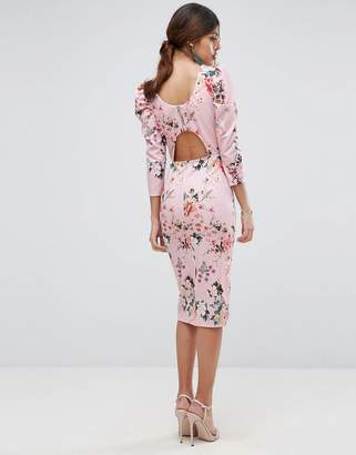 Asos DESIGN Midi Dress With Puff Sleeve and Cut Out Back In Floral Print