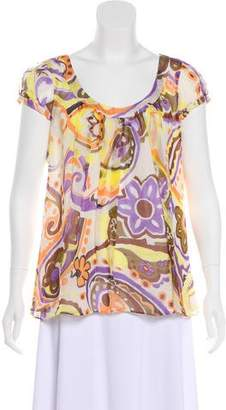 Milly Printed Silk Top
