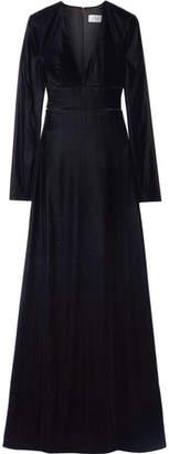 La Ligne - Lattice-trimmed Velvet Gown - Midnight blue