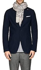 Barneys New York Men's Bandana-Motif Linen-Cotton Scarf-Beige, Tan