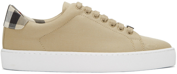 Burberry Taupe Westford Check Sneakers