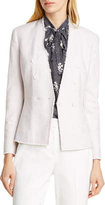 Rebecca Taylor Tailored by Textured Cotton Blend Suit Jacket