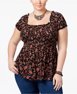 American Rag Trendy Plus Size Floral-Print Babydoll Top, Only at Macy's $44.50 thestylecure.com