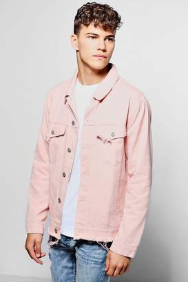 boohoo Dusky Pink Denim Jacket With Raw Hem