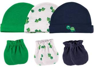 Luvable Friends Baby Boy Cap and Scratch Mittens, 6-Pack