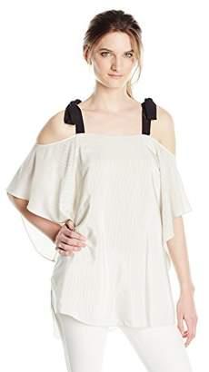Halston Women's Short Sleeve Cold Shoulder Top with Ties