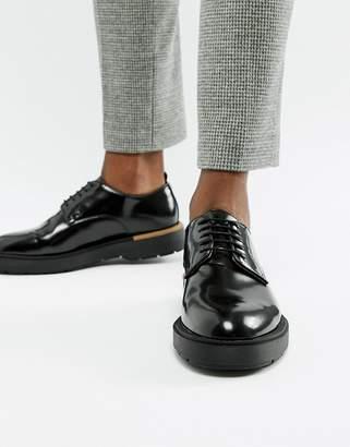 Bershka chunky sole lace up shoe in black