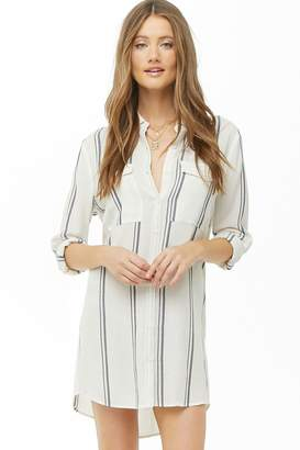 Forever 21 Striped Gauze Woven Shirt Dress