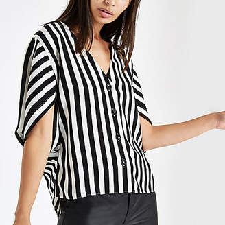 River Island Womens Black stripe button front loose top