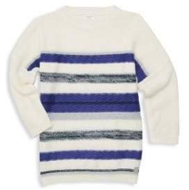 Carrement Beau Girl's Lurex Knit Striped Sweater