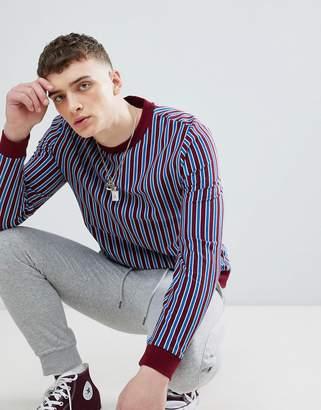 Asos DESIGN sweatshirt with burgundy and blue stripes