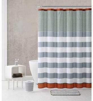 VCNY Home Multicolor 18-Piece Bathroom Shower Curtain Set Bundle, Trash Bin, Bath Rug, Towels and Hooks Included