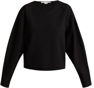 Stella McCartney V Neck Step Hem Fine Knit Sweater - Womens - Black