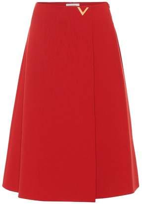 Valentino Virgin wool crepe midi skirt