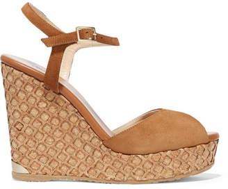 Jimmy Choo Perla Suede Wedge Sandals - Tan