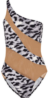 Norma Kamali Mio One-shoulder Mesh-paneled Leopard-print Swimsuit - Gray