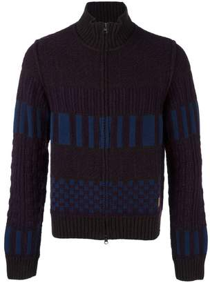 Al Duca D'Aosta 1902 colour block knitted zip cardigan