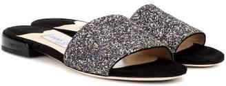 Jimmy Choo Joni Flat leather and glitter sandals