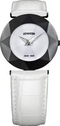 Jowissa Women's 'Facet' Quartz Stainless Steel and Leather Casual Watch