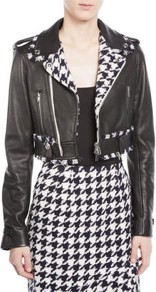 Oscar de la Renta Zip-Front Cropped Leather Moto Jacket w/ Houndstooth Trim
