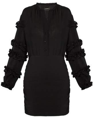 Isabel Marant Celest Ruffle Trimmed Cotton Gauze Dress - Womens - Black