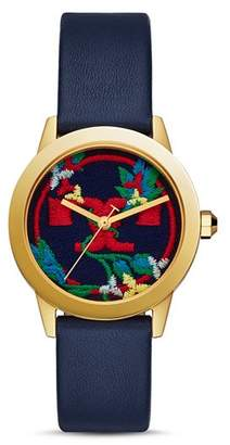Tory Burch Gigi Embroidered Multicolor Logo Dial Watch, 36mm