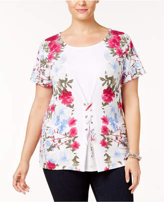 INC International Concepts I.n.c. Plus Size Corset-Laced T-Shirt, Created for Macy's
