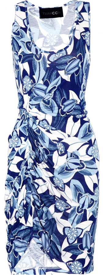 Thakoon Addition Draped printed jersey dress