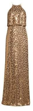 Aidan Mattox Sequin Halter Blouson Gown