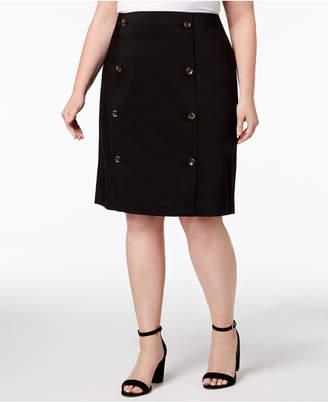 Calvin Klein Plus Size Button-Front Pencil Skirt
