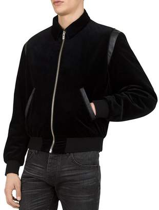 The Kooples Cozy Corduroy Bomber Jacket with Leather Trim