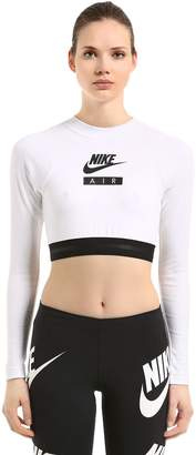 Nike Long Sleeve Cotton Blend Cropped Top