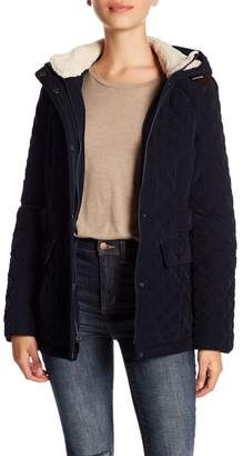 Laundry by Shelli Segal Faux Shearling Quilted Hooded Jacket