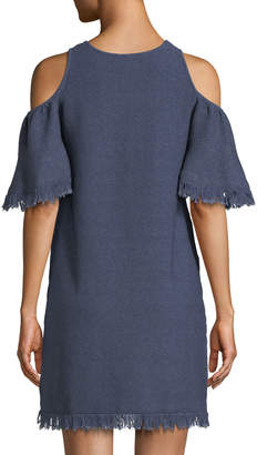 Milly Denim-Knit Cold-Shoulder Fringe Dress