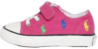 Ralph Lauren Embroidered Cotton Canvas Sneakers